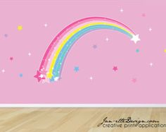 Girls Wall DecalsRainbow and Butterflies Fabric Wall Decal