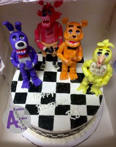 """Freddy Fazbear & friends cake 14-NOV-2014 10"""" vanilla cake filled & iced with Italian vanilla buttercream Figurines made of modeling chocolate  Decorations hand painted"""