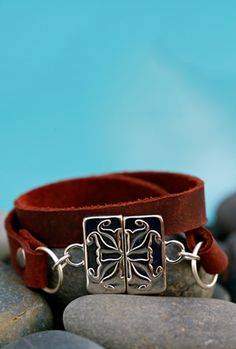 Brown Flat Wide Leather Wrap – Large Silver Magnetic Logo Clasp