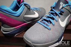 Nike Zoom Kobe 7 - Cool Grey / White - Thunder Blue - Fireberry New Images Kobe Shoes, Men's Shoes, Nike Free 3, Nike Zoom Kobe, Walk Run, Cheap Nike, Shoe Collection, New Image, Thunder