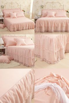 [Visit to Buy] bed skirt Cotton high quality printed twin size/ruffled bedspread,double/queen&king size, light solid color Bedspread, Home Textile, King Size, Twin, Home And Garden, Queen, Blanket, Skirt, Printed