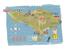 Bali Map, by Kate Evans at Folio Art