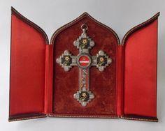 Super-Antique-Italian-Leather-Cased-Micro-mosaic-Crucifix-W-Relic-Mother-Cabrini