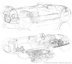 1948 Ferrari V12 Line Construction Drawing by Inomoto