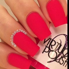 Matte red nail color