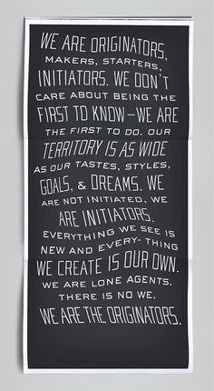 Originators Manifesto Koseli Cummings: copy/voice/wit, writ in Typography