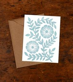 Blockprinted Card, Two Blue Flowers - Set of 6
