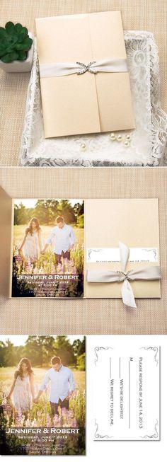 Romantic Pocket Photo Wedding Invitations with Rhinestone Buckle and Ribbon