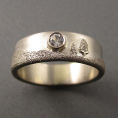 6mm 14K Palladium White Gold Two Pines Moonlight Ring with 3mm White T – Beth Millner Jewelry