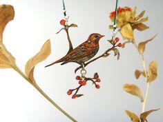 Weiteres - Vogelkette - WACHOLDERDROSSEL AUF BEERENZWEIG 01   - ein Designerstück von fraufischersSpielwiese bei DaWanda