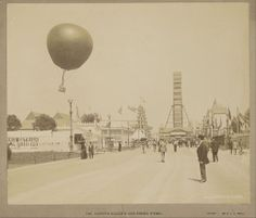 "Captive"" balloon and the ferris wheel at the World's Columbian Exposition (1892-1893)"