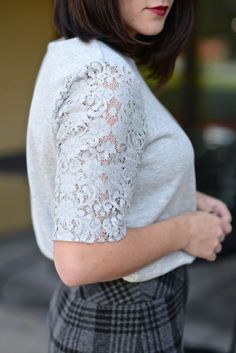 @LOFT Pencil Skirt and Lace Top, work outfit ideas via @mystylevita