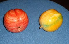 Pair of Vintage Italian Alabaster Stone Peaches – circa 1960's by 7AWestCollectibles on Etsy
