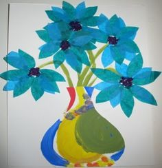 Symmetrical Vases and Collage Flower project