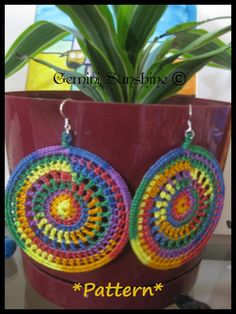 PATTERN ONLY--Rainbow Sol Crochet Earrings Pattern Only PDF Permission to sell Could be really cute in a solid neutral color This listing is NOT for a finished pair of crochet earrings. This listing is for the PDF PATTERN ONLY. If you are interested Crochet Jewelry Patterns, Crochet Earrings Pattern, Crochet Accessories, Crochet Necklace, Crochet Keychain, Knitting Patterns, Crochet Gifts, Cute Crochet, Knit Crochet