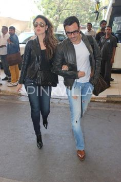 Saif Ali Khan & Kareena Kapoor Khan Rock the Airport Look! | PINKVILLA