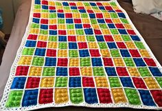 This Lego block pattern is simple and fun! Make one block, or make a whole blanket, it's really up to you! Free crochet patte