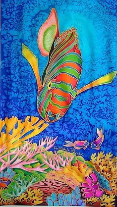 Surfboard Painting, Turtle Quilt, Wal Art, Underwater Art, Watercolor Fish, Batik Art, Alcohol Ink Art, Tropical Art, Chalk Pastels