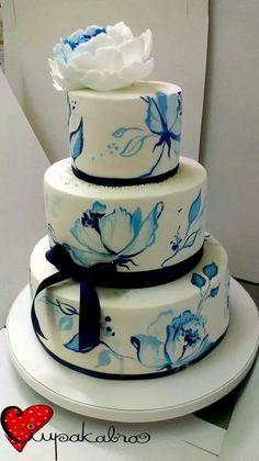Flores azuis pintadas