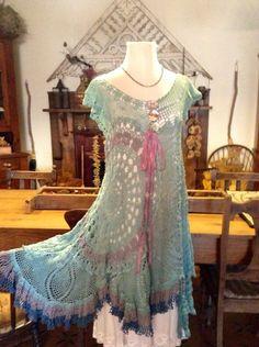 Luv Lucy Crochet Tunic Spring Violets boho by LuvLucyArtToWear