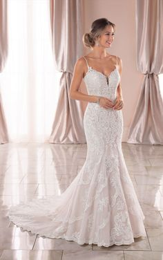 Wedding Dresses Lace High Neck 6873 Graphic Lace Mermaid Wedding Dress with Open Back by Stella York.Wedding Dresses Lace High Neck 6873 Graphic Lace Mermaid Wedding Dress with Open Back by Stella York Boho Wedding Dress With Sleeves, How To Dress For A Wedding, Open Back Wedding Dress, Lace Mermaid Wedding Dress, Country Wedding Dresses, Mermaid Gown, Mermaid Dresses, Dream Wedding Dresses, Designer Wedding Dresses