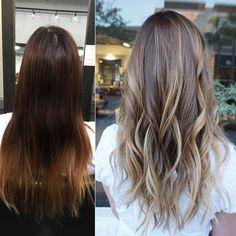 Before and after.... #balayage #balayageombre #colorcorrection #hairbykimjette #handpainted #hairpainting #brunette #honeyblonde #brunettebalayage