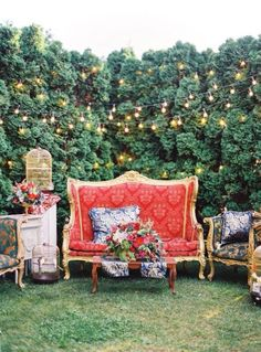 love inside furniture placed outdoors. adds a whimsy feel.