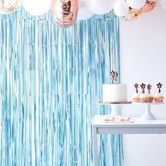 Matte Blue Fringe Curtain Backdrop
