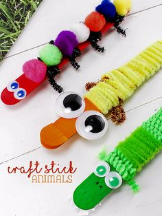 Duck, Alligator, and Caterpillar Craft Stick Animals Kid Crafts Summer Crafts Animal Crafts Craft Activities For Kids, Preschool Crafts, Kids Crafts, Preschool Activities, Popsicle Stick Crafts, Craft Stick Crafts, Craft Sticks, Wood Crafts, Summer Crafts For Kids