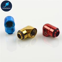 Flying-Elephant Red/Blue/Gold G1/4 Water Cooling tube Fitting 90 Degree rotary joint Quick Twist 360 Degrees pipe Connector