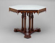 "Alexander Jackson Davis  American, 1803-1892  Probably made by Alexander Roux  American, born France, c.1813-1886, ""Belmead"" Center table"