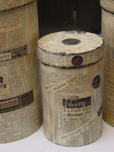 Decoupage decorative canisters with book pages.