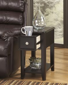 Signature Design By Ashley Chairside End Dark Brown Contemporary Carlyle  Chairside End Table   Gardiners Furniture   End Table