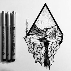 Tattoo • Triangle & Landscape • By Derek Myers •