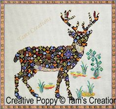 Deer in Patches cross stitch pattern by Tam's Creations - CreativePoppy.com