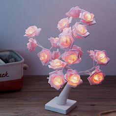 Cute Room Ideas, Cute Room Decor, Pastel Room Decor, Flower Room Decor, Lampe Art Deco, Kawaii Bedroom, White Rose Flower, Led Tree, Teenage Room Decor