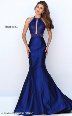 11329 Sherri Hill. Prom Dress 2016. Sherri Hill Prom Dress 2016. Long Blue Prom Dress With Sparkle Detailing. A-Line Prom Dress.