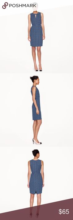 J. Crew keyhole dress in square dot. EUC. Sz 4 PRODUCT DETAILS A slightly longer length adds a sophisticated (not to mention easy-to-wear) touch to this crepe dress, but our designers kept things firmly on the flirty side with a fun geometric dot print.  Viscose. Bra keeps. Back zip. Lined. J. Crew Dresses