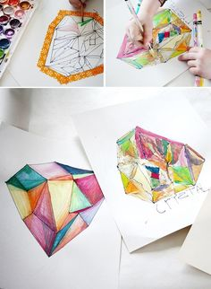 DIY Crystal Gem Jewel Paintings – Watercolor crafts with Kids – Geometric Art   Small for Big