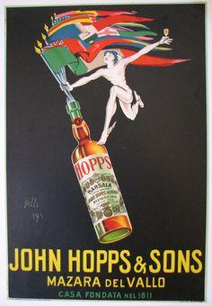 1923 John Hopps of Sicily Italy Vintage Italian Wine Poster