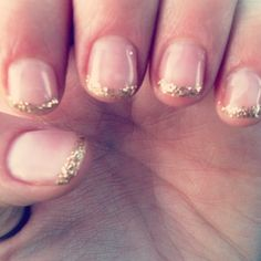 Gel nails with gold glitter French tips. This with rose gold glitter would be perfect for the wedding day.