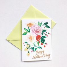 Hand painted yellow posy watercolor Mother's Day Card. 100% original art by Michelle Mospens. | Mospens Studio