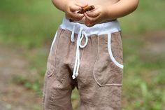 Harem pants, natural linen shorts pants 100% linen trousers baby boy softened crumpled linen pocket. Ready to ship