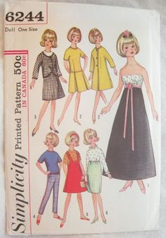 Simplicity 6244 Tammy Doll Clothes Vintage Sewing Pattern 12 Inch Doll Wardrobe