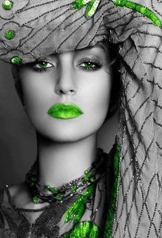Beautiful Greens, Lipstick and Nails, Glamour Headshot, Green Color Splash Fashion Photography. Color Splash, Color Pop, Color Azul, Beautiful Eyes, Beautiful People, Beautiful Women, Glamour, Tamara, Soft Autumn