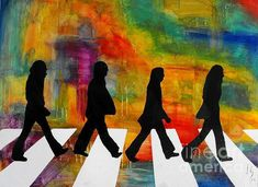 Abbey Road portrays the strong iconic silhouettes created through the use of acrylics and inks, the perfect tribute to The Beatles. We invite you to visit the Ivan Guaderrama Art Gallery at the San Jose del Cabo Art District, Mexico. The Beatles, Beatles Art, Beatles Albums, Hippie Painting, Music Painting, Frames For Canvas Paintings, Canvas Art, Acrylic Paintings, Road Painting
