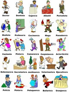 Vocabulary for the profressions and jobs in Spanish language Spanish Grammar, Spanish Vocabulary, Spanish English, Vocabulary Worksheets, Spanish Language Learning, Spanish Teacher, Spanish Classroom, Teaching Spanish, Learn English