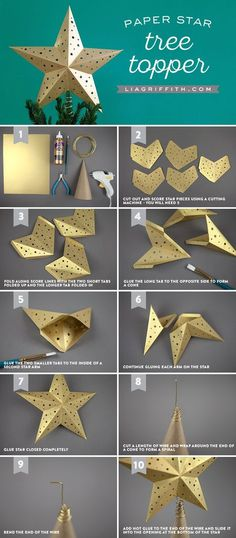 15 ideas for diy christmas tree ornaments origami stars Diy Christmas Star, Diy Tree Topper, Christmas Tree Star Topper, Star Tree Topper, Christmas Origami, Christmas Tree Ornaments, White Christmas, Xmas, Paper Christmas Decorations