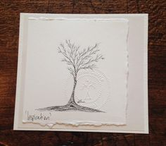 Fine tip archival black ink on drawing paper 4.25 x 4.75  Feel Good Collection are original and unframed, fine art tree drawings. One of a kind, not copied or duplicated by Andrea Currie. Each unique fine art illustration is stamped and signed by the artist.  www.pomonalifeshop.com