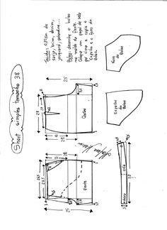 Esquema de modelagem de short simples cós médio tamanho 38.